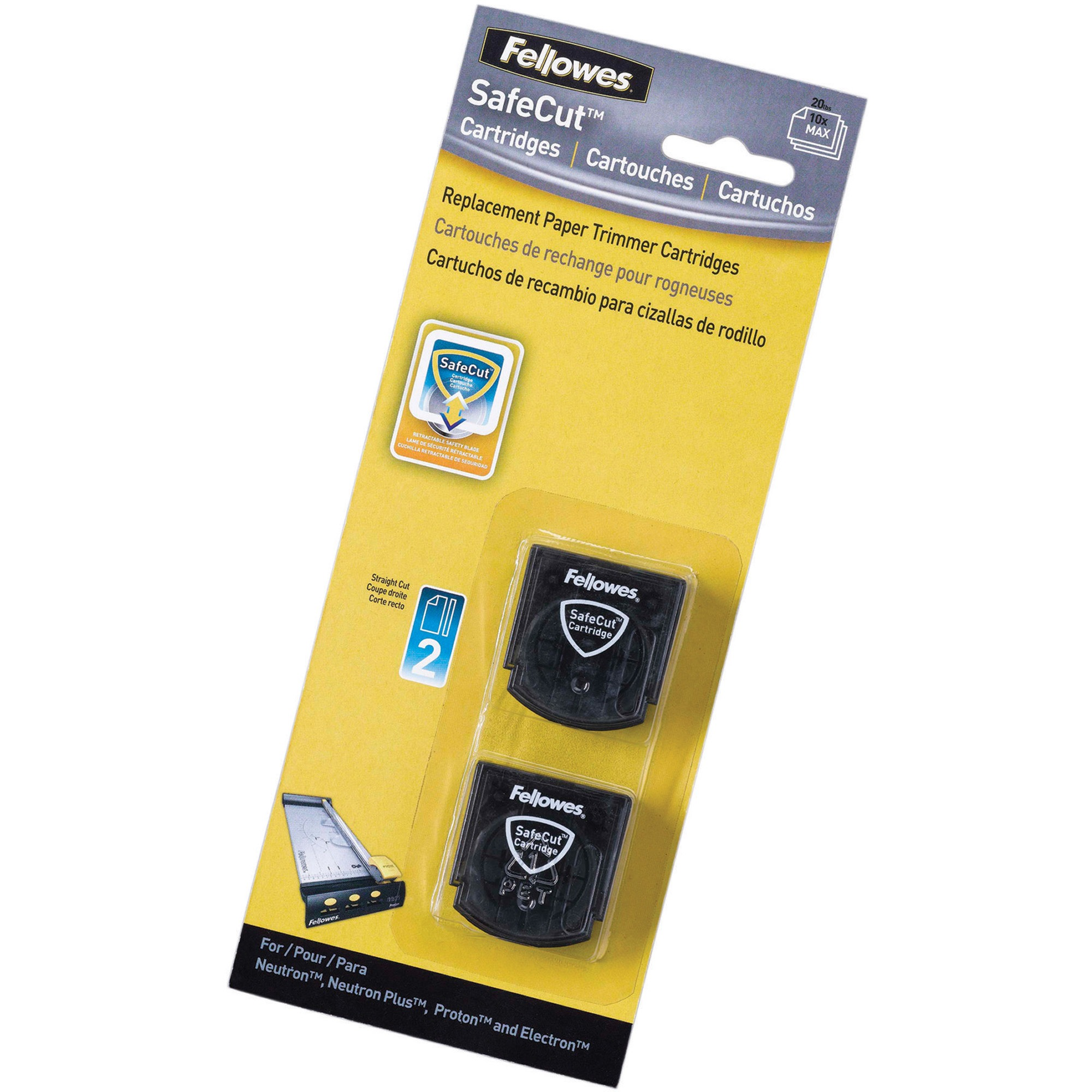 Fellowes SafeCut Rotary Trimmer Blades - 2Pk Straight, Black, 2 / Pack (Quantity)