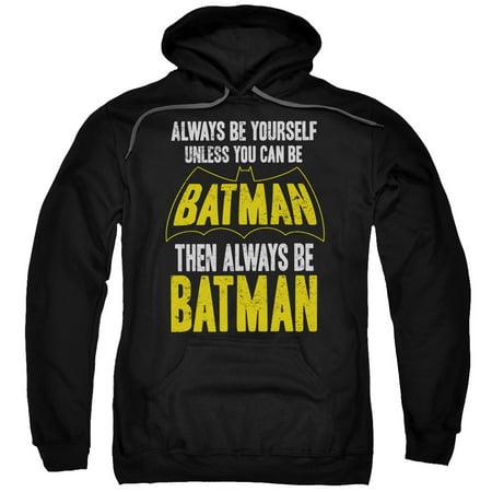 batman/be batman adult pull over hoodie black  - Batman Hoodie With Ears