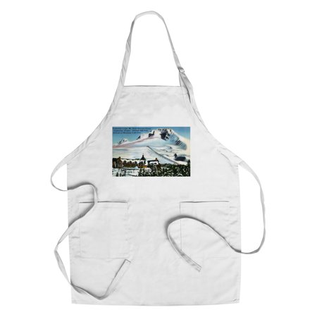 Mount Hood, Oregon - View of Timberline Lodge, Mt Hood in Winter (Cotton/Polyester Chef's (Timberline Lodge Mt Hood Oregon)