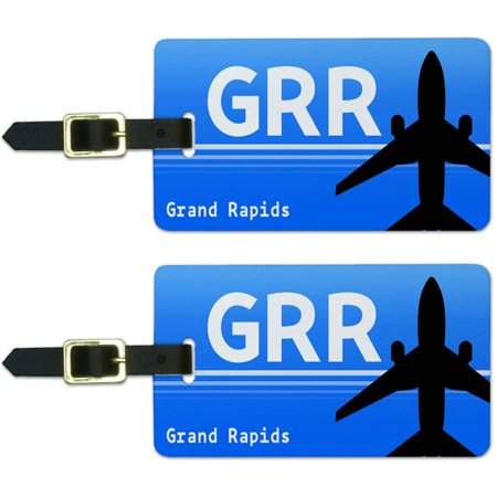 Grand Rapids MI (GRR) Airport Code Luggage Suitcase Carry-On ID Tags, Set of 2 - Party City Grand Rapids Mi