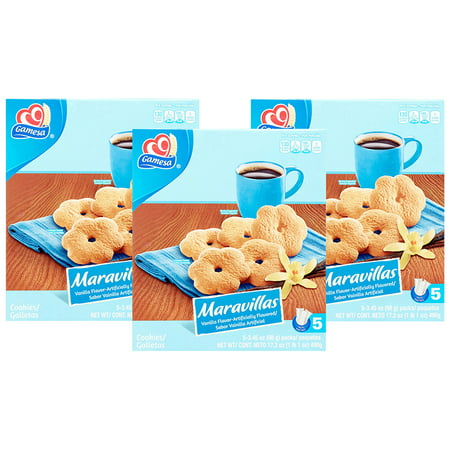 Signature Cookie Gift Box - (3 Pack) Gamesa Maravillas Vanilla Flavored Cookies, 5 Packs Per Box, 17.2 oz Box