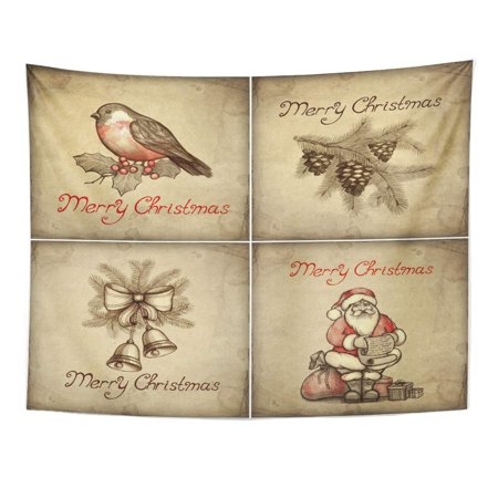 REFRED Red Vintage Christmas Santa Traditional Victorian Bird Tree Wall Art Hanging Tapestry Home Decor for Living Room Bedroom Dorm 51x60 inch ()