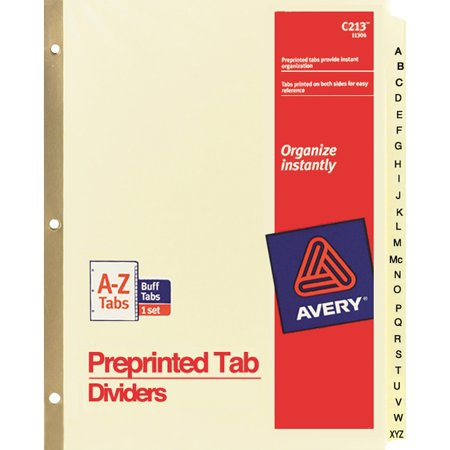 - Avery Preprinted Laminated Tab Dividers w/Gold Reinforced Binding Edge, 25-Tab, Letter