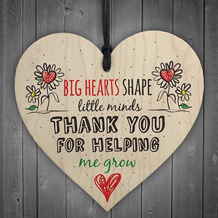 Teacher Leaving Gift Nursery Wooden Hanging Pendant Heart Plaque Decor - Teacher Desk Decor