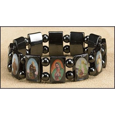 Mens Womens Catholic Gift 1/2 Inch H Hematite Bead All Patron Saints Icon Image Stretch Bracelet - Als Bracelet