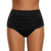 Women's High Waisted Swim Bottom Ruched Bikini Tankini Swimsuit Briefs BK/L