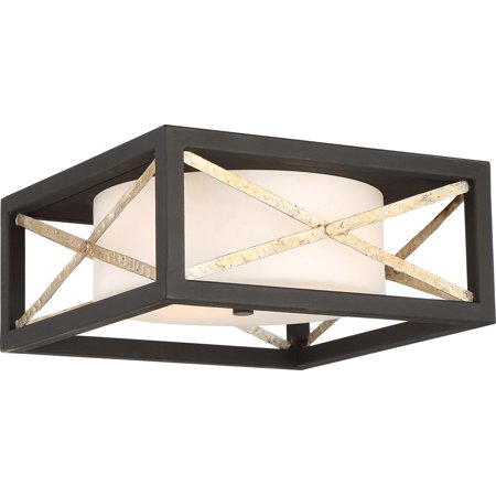 Flush Mounts 2 Light With Matte Black and Antique Silver Accents Finish Medium Base 14 inch 120 Watts