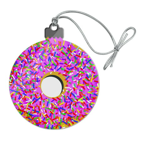 Pink Donut with Pink Frosting and Sprinkles Acrylic Christmas Tree Holiday Ornament