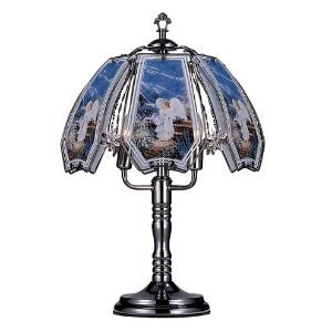 "Glass Little Guardian Angel Theme Black Chrome Base Touch Lamp 23.5""h, The lamp is 23 inches tall. By OK Lighting"