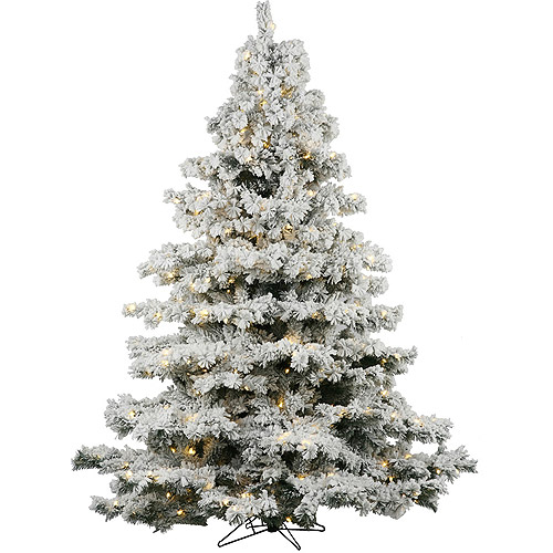 "Pre-Lit 4.5' x 44"" Alaskan Dura-Lit Artificial Christmas Tree, Flocked White on Green, Clear Lights"