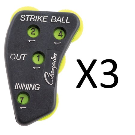 4 Dial Score Keeper Baseball Softball Umpire Indicator  3 Pack   This Is The Original Setup That You Are Used To  By Champion Sports