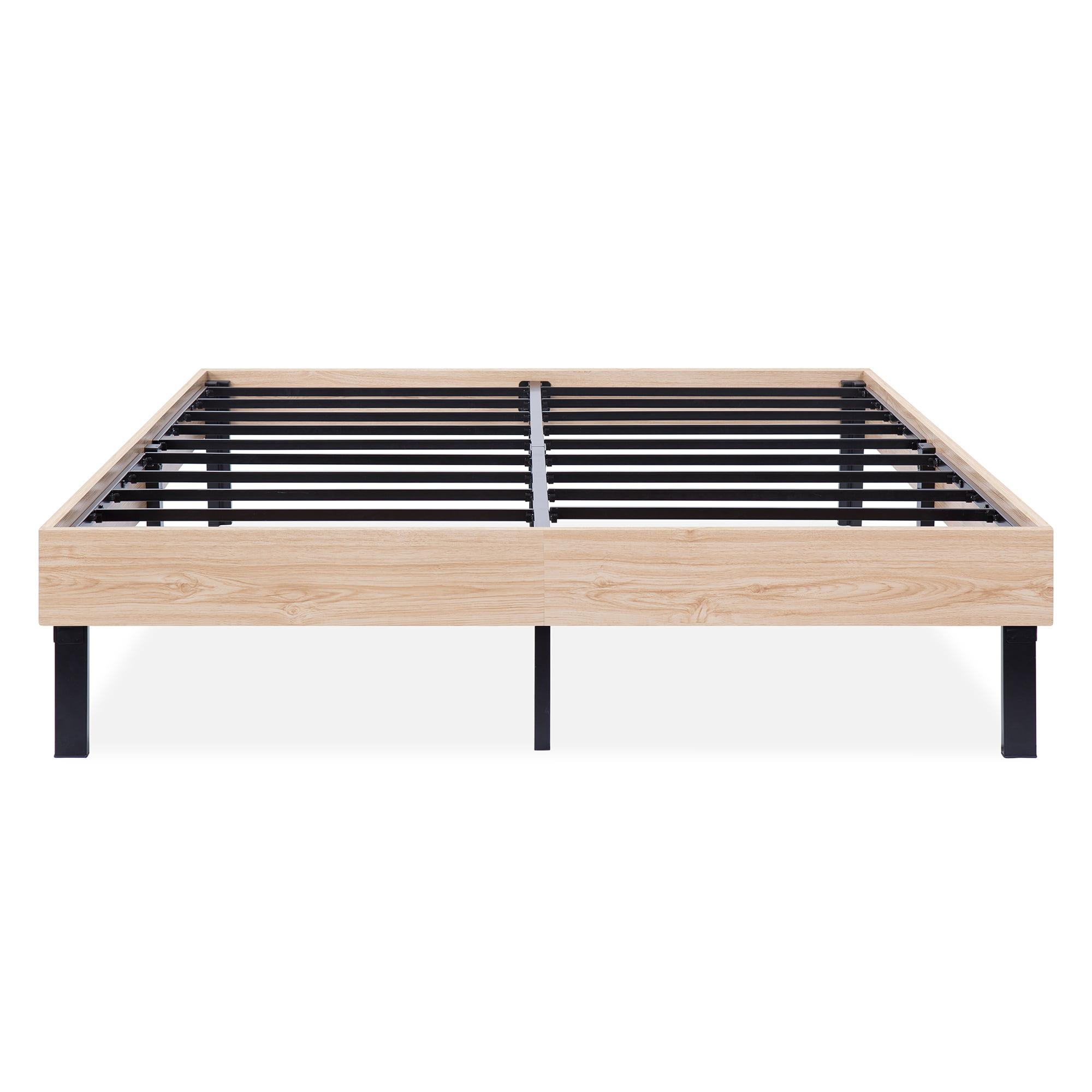 GranRest 14 Inch Classic Natural Wood Finished Platform Bed Frame   Dura Steel Slat Support, Stylish Natural by Grantec Co., Ltd