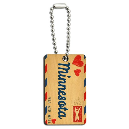 Rectangle Shape Key (Air Mail Postcard Love for Minnesota Wood Rectangle Key Chain )