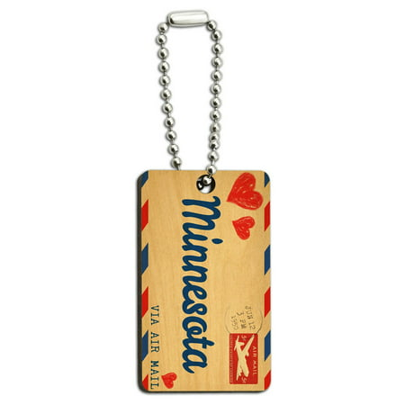 Air Mail Postcard Love for Minnesota Wood Rectangle Key