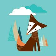 Trendy Peas Tall Fox Paper Print