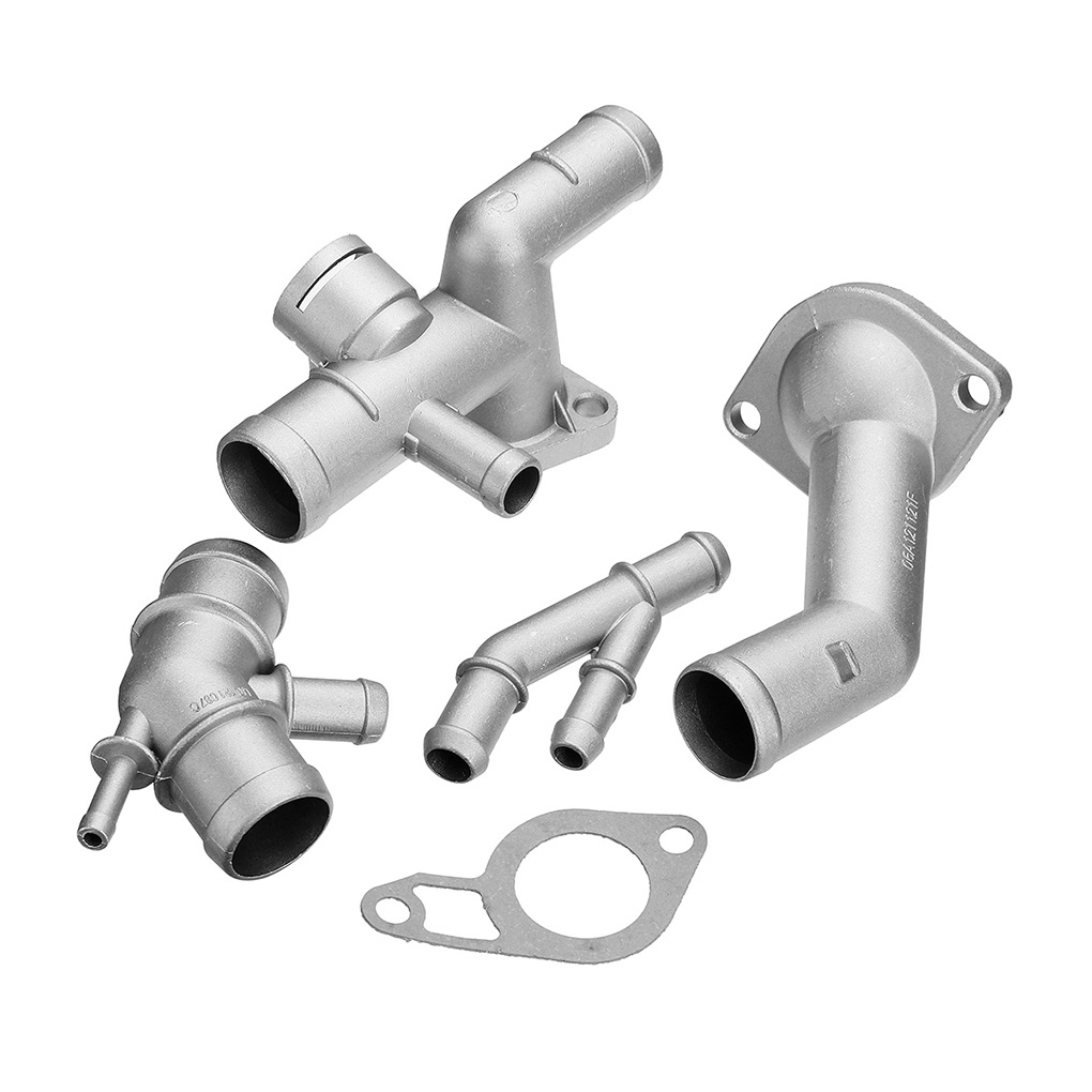 Qii lu Coolant Flange Kit , 4Pcs//Set Aluminum Engine Coolant Hose Flange Kit Fit For Mk4 1.8T 2000-2005 06A121132A