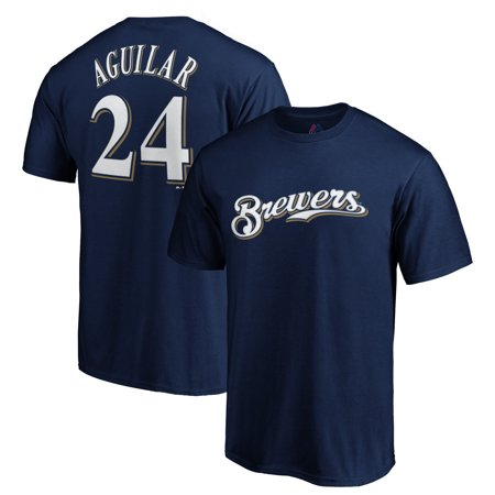 Jesus Aguilar Milwaukee Brewers Majestic Logo Official Name & Number T-Shirt - Navy
