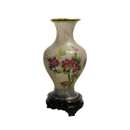 Jademarket Hongkong Cloisonne Translucent Vase With Gold Trim And Detail-Small