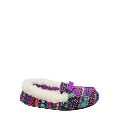 DF by Dearfoams Girls' Sweater Knit Moc Slippers - Cinderella Glass Slippers For Girls