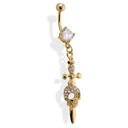 Belly Button Ring Gold Tone With Skull And Dagger, Clear Stone