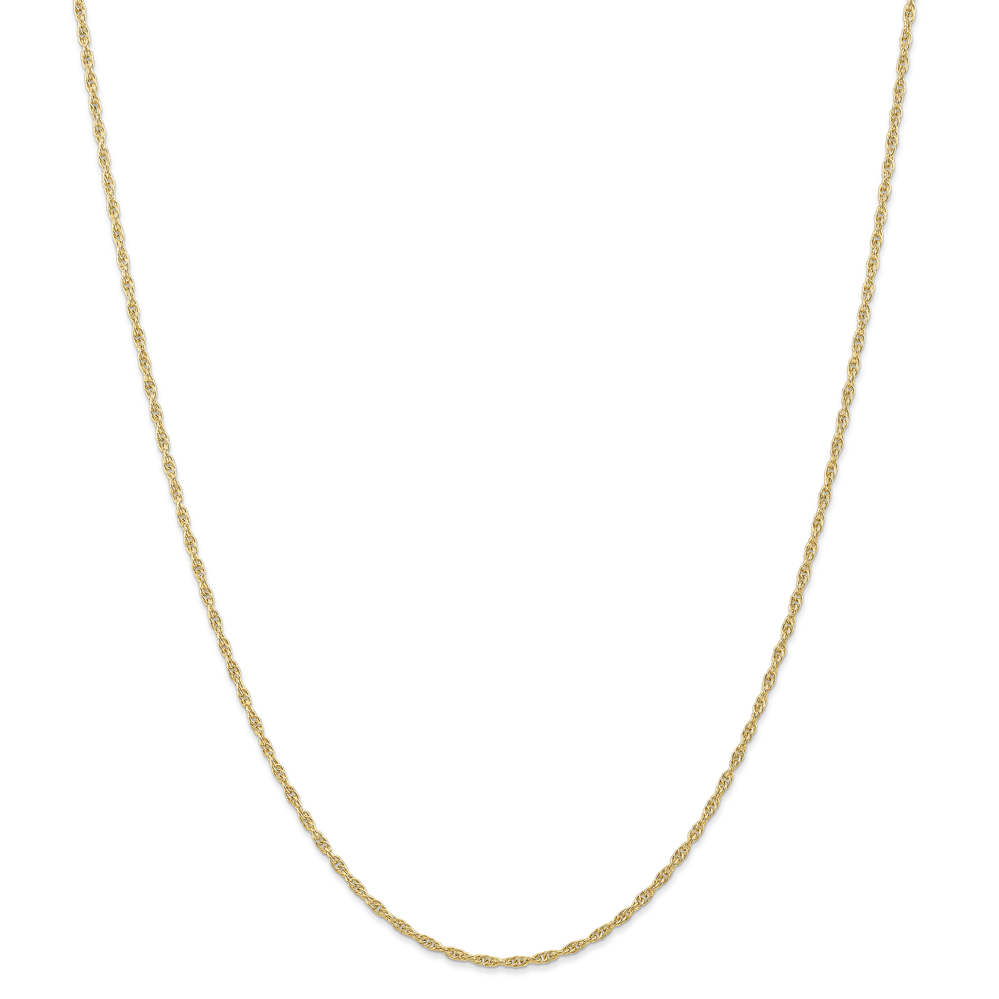 Roy Rose Jewelry 14K Yellow Gold 1.55mm Carded Cable Rope Chain Necklace ~ Length 18'' inches