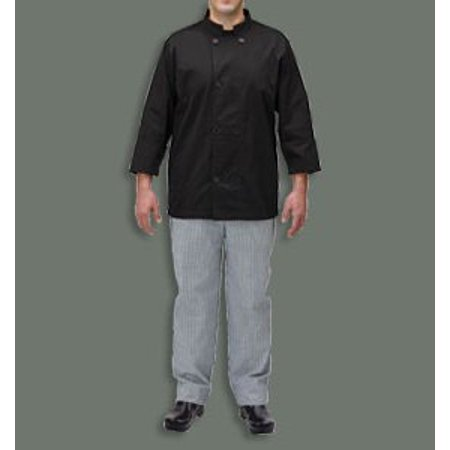 Coat Black Short Sleeve Buttons - Winco UNF-5KXL, Black Chef Jacket, Polycotton Chef Button Cook Shirt, Unisex Chef Uniform Apparel with Long Sleeves (XL)
