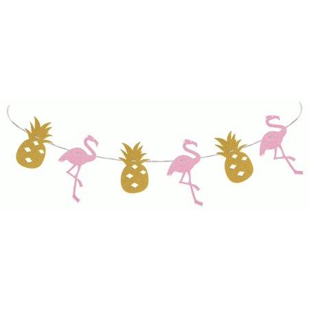 Luau Luxe Party Pineapple & Flamingo Garland 6' Hanging Decoration, Gold Black](Luau Garland)