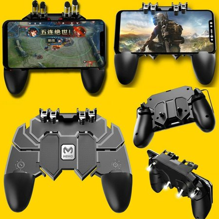 AK66 Six Finger Gamepad Phone Mobile Video Game Controllers Fire Button Trigger Joystick For Shooter Controller PUBG EPB iOS Android L1R1 L2R2 Mobile Gaming (Six Button Ps3 Controller)