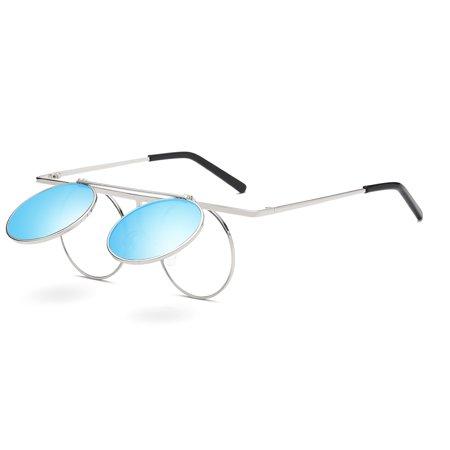a7b90b4b160 Cyxus - Cyxus 70 s Steampunk Retro Round Polarized Sunglasses with Flip  Cover Lens