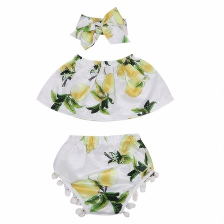 Newborn Baby Girls Lemon Tube Tops+ Tassel Shorts+ Headband 3Pcs Outfits Clothes - Lemon Heads