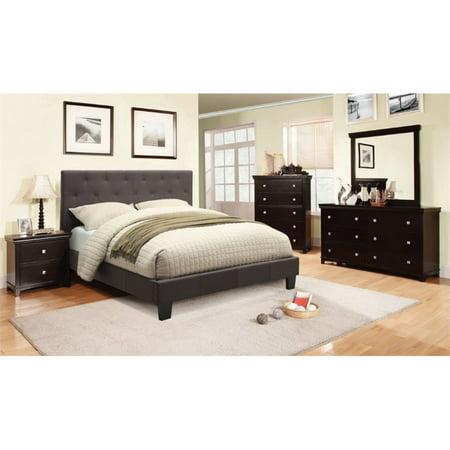 Furniture of America Warscher 4 Piece Upholstered Twin Bedroom Set