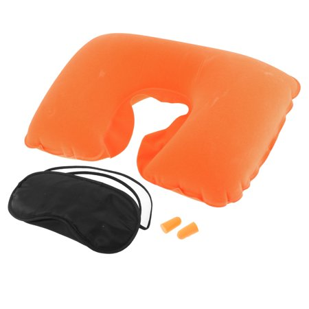 Unique Bargains Travel Camping Sleeping Inflatable Pillow Eye Mask Earplug Orange 3 in 1
