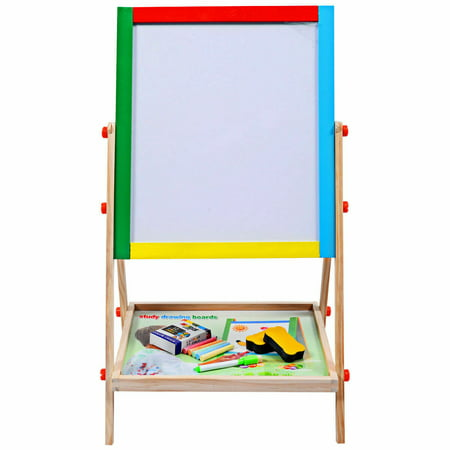 Costway Adjustable 2 In 1 Wooden Easel Chalk Drawing Board Black / White Children - Adjustable Height Easel
