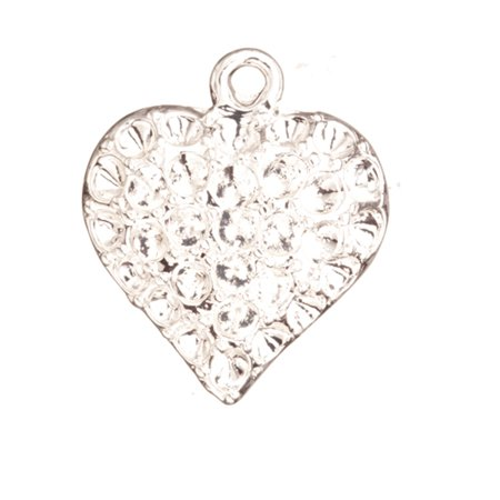 Bracelet Charms, Silver-Plated Puff Heart Crystal Setting Crystal Setting 23.6x20.5mm Fits 33pcs ss11/Pp22 Swarovski Crystals 3pcs/pack (3-Pack Value Bundle), SAVE -
