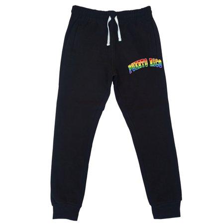Men's Rainbow Puerto Rico KT T73 Black Fleece Gym Jogger Sweatpants 2X-Large