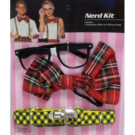 Nerd Glasses Bow Tie Suspenders Set Halloween Costume Instant (Halloween Glasses)