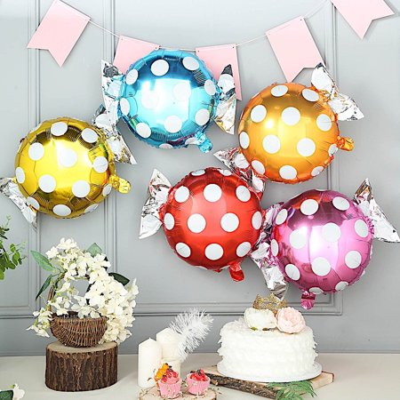 BalsaCircle 5 pcs 19-Inch long Assorted Polka Dots Candy Mylar Foil Balloons Wedding Party Reception Decorations Wholesale Supplies](Promo Code For Wholesale Party Supplies)