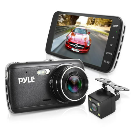 PYLE PLDVRCAM44 - Full HD 1080p DVR Dash Cam Kit - Dual Camera Car Video Recording System with Waterproof Backup Cam, 4.0'' -inch Display (Camera For Back Of Car)