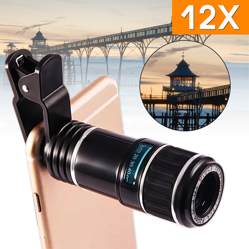 Universal 12X Zoom Clip On Mobile Phone & Tablet Optical Camera Lens Telephoto Telescope for iPad for iPhone
