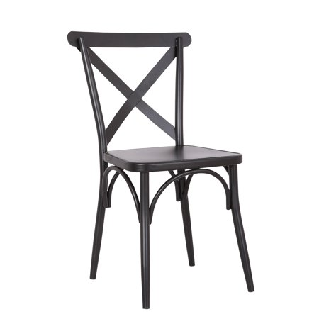 Pastel Painted Chair (Rustic Cross Back Metal Modern Farmhouse Dining Chair, Matte Black, Set of 2 )
