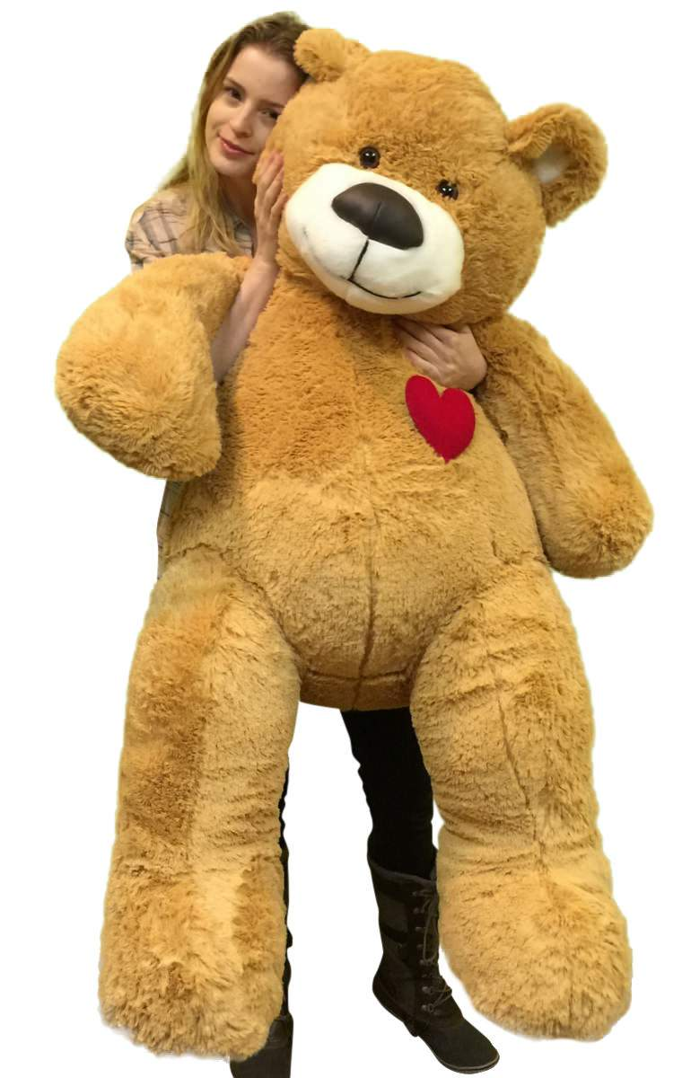 55 Inch Giant Teddy Bear Love Heart on Chest, Tan Soft New Big Plush Teddybear by BigPlush