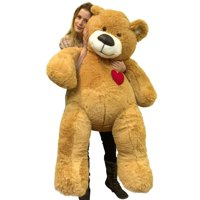 55 Inch Giant Teddy Bear Love Heart on Chest, Tan Soft New Big Plush Teddybear