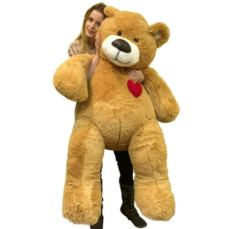 55 Inch Giant Teddy Bear Love Heart on Chest, Tan Soft New Big Plush (Tan Soft Toy)