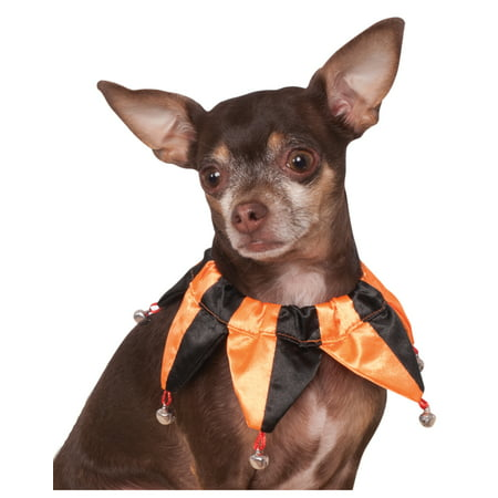 Pet Dog Cat Orange Black Jester Clown Fancy Collar With Bells