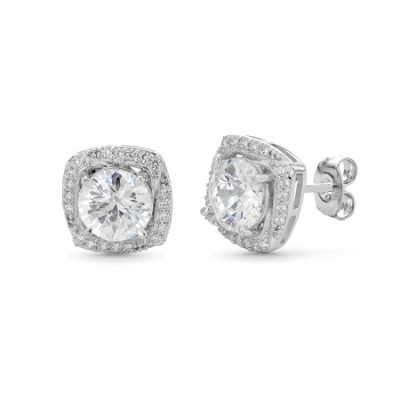 Sterling Silver Cubic Zirconia Cushion Shape On Point Stud Earrings Cubic Zirconia Cushion Earrings