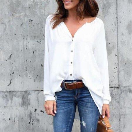 S-5XL Women Fashion Casual V-neck Button Pure Color Chiffon Blouse