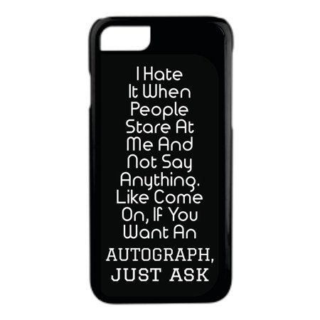 Autograph Quote in Black and White Novelty Design Protective Durable Tough Black Plastic Overcase + Hard Rubber Lining Phone Case That Is Compatible with the Apple iPhone 5c