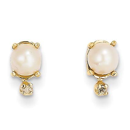 14K Yellow Gold Diamond & FW Cultured Pearl Birthstone Earrings - image 2 of 2