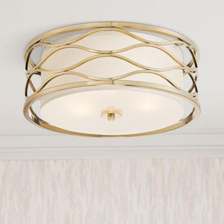 Possini Euro Design Modern Ceiling Light Flush Mount Fixture Openwork Plated Gold 16