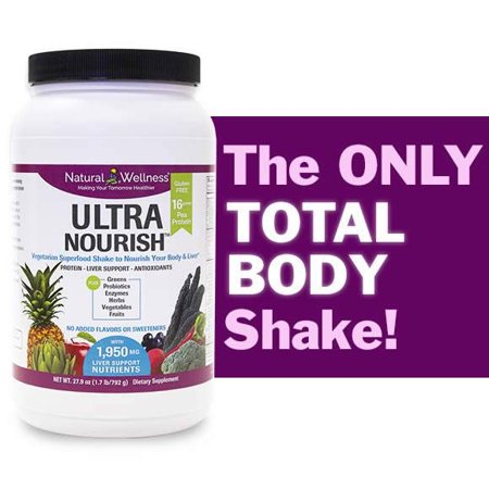 UltraNourish Vegetarian Superfood Shake - Total Body Support for the Liver, Heart and Digestive Health - 26.7oz Natural Wellness 16g Pea Protein Powder Drink Mix - Gluten Free Unsweetened -30 Servings ()